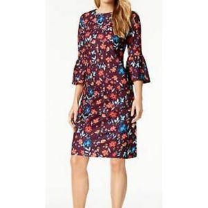 Calvin Klein Bell Sleeves Floral Sheath Dress